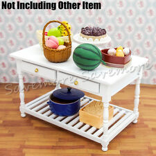 White Wooden Desk w/ Drawers Miniature Display Table Kitchen Cabinet Dollhouse