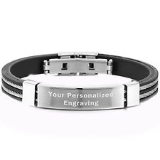 Vincenza Engraved Personalised Id Bracelet Black Pu Leather Stainless Steel Uk