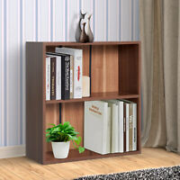 2 Tier Wood Bookcase Storage Small Cupboard Home Office Furniture Walnut