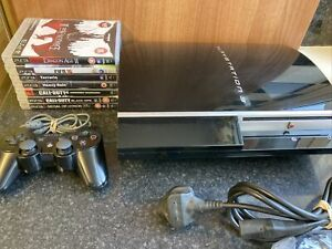 Sony PlayStation 3 - PS3 Piano Black Phat Console Bundle With 7 Games - Tested
