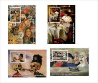 James Ensor PAINTINGS ART 8 SOUVENIR SHEETS MNH UNPERFORATED