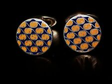 """AUTHENTIC RETIRED """" GUCCI """" STERLING SILVER 925 G LOGO ENAMEL CUFFLINKS ITALY"""