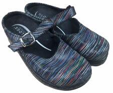 Klogs Mission Clogs Striped Leather Slip-Resistant Nursing Shoes Women's Sz 8 W