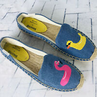Soludos + Mary Matson Denim Flamingo Duck Espadrille Flats NWOB