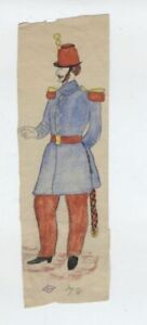 1878 OLD AMERICAN soldier EARLY Antique American Patriotic FLAG Folk Art