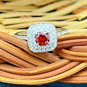 925 SILVER CREATED FLAWLESS ROUND FIRE MANDARIN GARNET ENGAGEMENT WEDDING RING 7