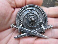 Vtg VIKING SWORDS Belt Buckle 2013 Alchemy Medieval Runes UK Warband RARE VG++