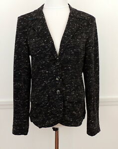 Hatley Women M Jacket Soft Structure Stretch Knit Heathered Black 3 Button Front