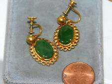Vintage Jade Green Agate Stone Gold tone dangle Screw on Earrings 12a 74
