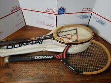 2 Vintage Donnay Bjorn Borg + Aries Tennis Racket Raquet Light 5 + 3 With Bag!