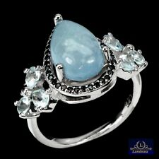 8.7 ct  Aquamarine - Topaz - Spinel Sterling Silver Ring