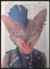 Punk Rocker Gattino Stampa Vintage Dizionario Pagina Da Parete, Arte Foto