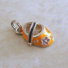 Enamel Girls Flower Shoe Sterling Silver Bracelet Charm Baby Bootie