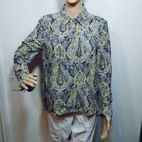 Zara Woman Gold Black white long sleeve top blouse Size Small