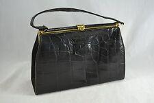 VINTAGE 1950s black crocodile skin leather kelly bag suede lined