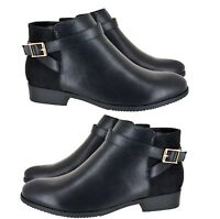 LADIES COMFORT WORK SHOES WOMENS FLAT CHELSEA HOLIDAY ANKLE BOOTS BIG SIZES 8-11