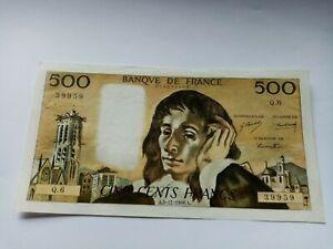 BILLET DE 500 FRANCS PASCAL DU 5 /12/1968 EN ETAT ALPHABET Q6 39959