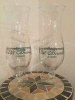 Pat O'Brien's 2 Vintage Hurricane Glasses /Orlando/Collectible