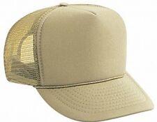 Justin Bieber style Solid khaki tan Blank Trucker Hat mesh hat snap back hat NEW