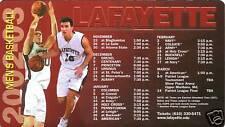 Lafayette Leopards--2002-03 Basketball Magnet Schedule