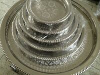 8.25 In Moroccan Handmade Authentic Serving Brass Tea Tray Medium Silver Plated