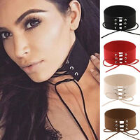 Women Lace Up Gothic Punk Choker Vintage Velvet Leather Necklace Jewelry Gift