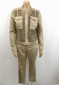 MARCCAIN SPORTS Anzug Hose & Jacke Gr.N4 40 Blazer Spitzenbesatz Khaki Beige