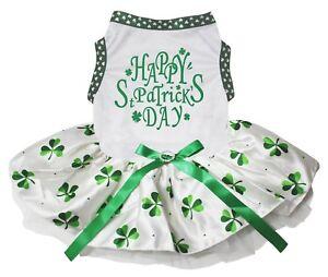 Happy St Patrick's Day White Cotton Top Clover Tutu Pet Dog Puppy Dress