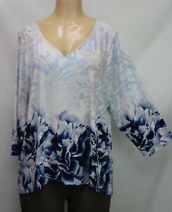 Calvin Klein Women's Knit Top 3/4 Sleeve Floral Stretch Size 1X