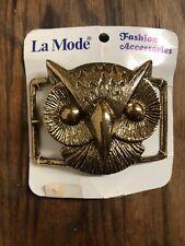 "NEW True Vtg 70s GROOVY METAL OWL HIPPY BELT BUCKLE for 1.5""-1.7"" BELT LA MODE"