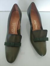 Vintage Leather Luxury Heels Hill & Dale Womens Size 8.5 Narrow Green