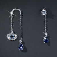 18k white gold made with SWAROVSKI crystal chain eye stud unbalanced earrings