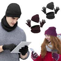 Men Women Winter knitted Hat Scarf Touch Screen Gloves Set Skull Warm beanie Cap