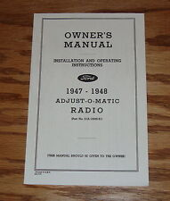 1947-1948 Ford Radio Owners Installation Manual Instruction Book 47 48