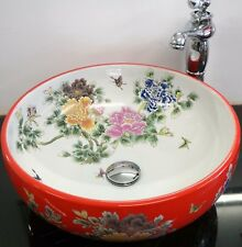 Red Round Bathroom Cloakroom Ceramic Counter Top Wash Basin Sink Washing Bowl