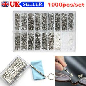 1000pcs Tiny Glasses Sunglasses Spectacles Screws Repair Kit Screwdriver UK