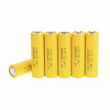 6 pièces AA 1.2V 2200mAh Ni-CD Batterie Rechargeable,Jaune