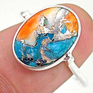 JAIPUR SILVER 5.74cts Spiny Oyster Arizona Turquoise Ring Size 8 T34643