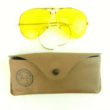 1960's Ray-ban Ambermatic Shooter Aviator Sunglasses w/ Case - Gold Frame VTG