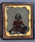 19thC Antique VICTORIAN CHILD PORTRAIT Young Girl AMBROTYPE PHOTO Old PHOTOGRAPH