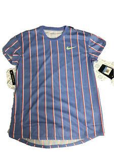 Nike Mens Court Slam Tennis Crew Striped Shirt CI9150-478  Size MEDIUM