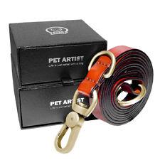 5/6ft Soft Genuine Leather Dog Slip Collar Leash Brown Training P-Leash Durable
