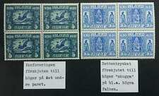 Iceland Lot of 2 Blocks of 4 Parliament 1930 with VARIETIES MH