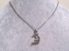 Tibetan Silver Crescent Moon Pendant Silver Chain Necklace.Handmade
