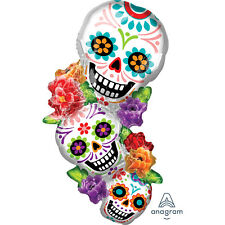 Large Halloween Day Dead Stacked Sugar Skulls Supershape Foil Balloon Decoration