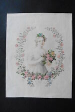 FRENCH SCHOOL 19thC - PORTRAIT OF A YOUNG WOMAN - ALEGORY OF SPRING - WATERCOLOR