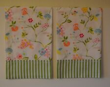 Wildflower Pillowcases Two Handmade standard queen Cotton New Shabby white green