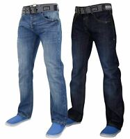 Crosshatch Men Denim Jeans Straight Leg Faded Pants Trousers Free Belt All Sizes