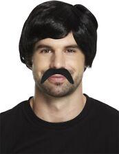 Pablo Escobar Style Black Wig & Moustache Short Mens 70's Gangster Fancy Dress