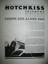 PUBLICITE DE PRESSE HOTCHKISS AUTOMOBILE COUPE DES ALPES RALLYE FRENCH AD 1933